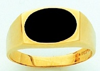 Men&#39s Black Onyx Ring 10KT or 14KT Yellow or White Gold Open Back #103