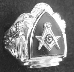 Gothic Sterling Silver Masonic Rings, Solid Back #1G