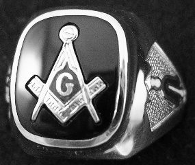 Gothic Sterling Silver Masonic Rings, Solid Back #4G