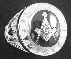 Gothic Sterling Silver Masonic Rings, Solid Back #3G