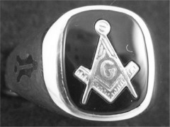 Gothic Sterling Silver Masonic Rings, Solid Back #5G
