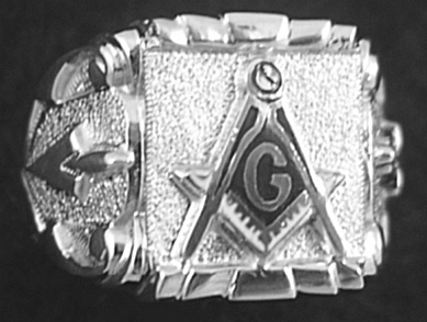 Gothic Sterling Silver Masonic Ring, Solid Back #12G
