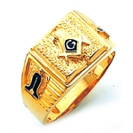 #132a Masonic Ring Solid Back 10K or 14K White or Yellow Gold