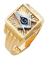 #133a Masonic Ring Solid Back 10K or 14K Two Tone