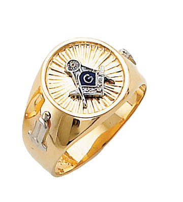 #125a Blue Lodge Masonic Ring 10K or 14K White or Yellow Gold