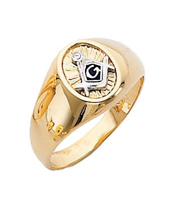 #129a Blue Lodge Masonic Ring 10K or 14K Solid Back