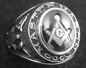 Gothic Sterling Silver Masonic Rings, Solid Back #2G