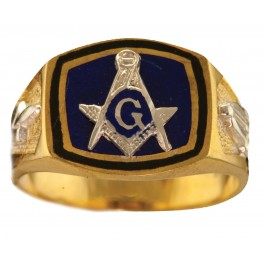 3rd Degree Masonic Ring 10KT OR 14KT, Solid Back, White or Yellow Gold #619