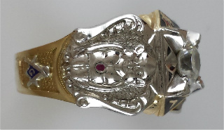 Royal Order of Jesters Ring, 10K OR 14K GOLD, OPEN OR SOLID BACK, 1CT CZ #6
