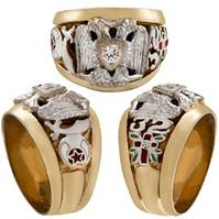 32ND DEGREE SCOTTISH RITE-SHRINE RINGS, Solid Back  #1303