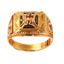 Knights Templar Rings 10K or 14K Gold, Open or Solid Back #1507