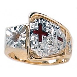 Knights Templar Ring 10K or 14K Gold, Open or Solid Back #1517a