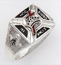 Sterling Silver Knights Templar Ring Ring Solid Back#17