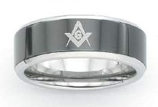 Stainless Steel / Tungsten Masonic Rings