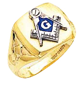 #128a Blue Lodge Masonic Ring 10K or 14K Solid Back