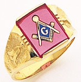 3rd Degree Masonic Blue Lodge Ring 10KT OR 14KT Open Back, White or Yellow Gold, #183b