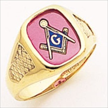 3rd Degree Masonic Blue Lodge Ring 10KT OR 14KT Open Back, White or Yellow Gold, #180b