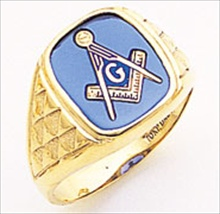 3rd Degree Masonic Blue Lodge Ring 10KT OR 14KT Open Back, White or Yellow Gold, #191b