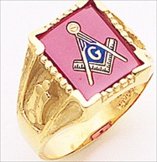 3rd Degree Masonic Blue Lodge Ring 10KT OR 14KT Open Back, White or Yellow Gold, #193b