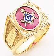 3rd Degree Masonic Blue Lodge Ring 10KT OR 14KT Partial Solid Back, White or Yellow Gold, #190b