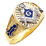 #127a Blue Lodge Masonic Ring, 10K or 14K Solid Back