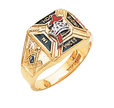 Knights Templar Ring 10K or 14K Solid Back #1530