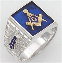 Sterling Silver Masonic Blue Lodge Ring Ring Solid Back#16