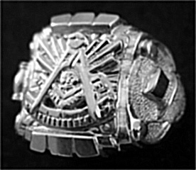 Gothic Sterling Silver Past Master Rings, Solid Back #6G