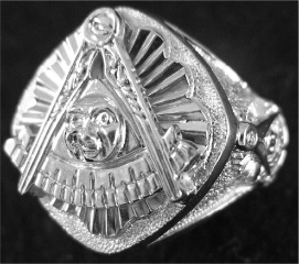 Gothic Sterling Silver Past Master Ring, Solid Back #11G