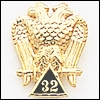 SCOTTISH RITE 32ND DEGREE LAPEL PIN 10KT YELLOW GOLD #10