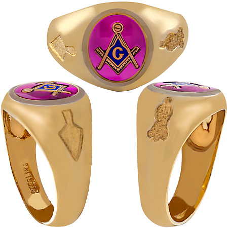 3rd Degree Masonic Blue Lodge Ring 10KT OR 14KT, Open Back   #212