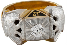 Scottish Rite Ring, 10K or 14K, Hollow Back, Blue Lodge, 14th Degree, 18th Degree, and 32nd #1205