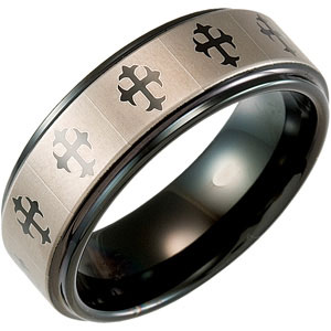8.3mm Dura Tungsten™ Black Immersion Plated Band with Lasered Crosses #42
