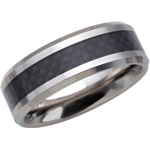 8.3mm Dura Tungsten™ Beveled Band with Black Carbon Fiber Center #36