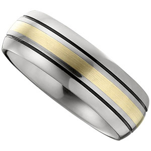 8.3mm Dura Tungsten� Slight Domed Black Antiqued Band with 14KT Yellow Inlay #40