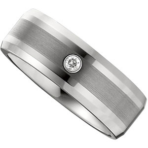 8.3mm Dura Tungsten™ Diamond Beveled Band with Satin Center #41