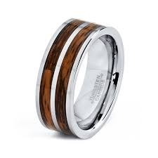 Men&#39s or Women&#39s Tungsten Ring with Double Wood Inlay #203