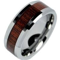 Men's or Women's Tungsten Ring with Wood Inlay #202