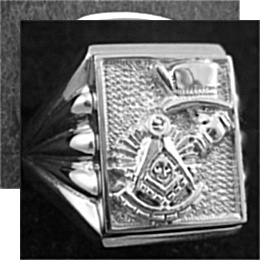 Gothic Sterling Silver Past Master Rings, Solid Back #7G