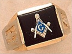 3rd Degree Masonic Blue Lodge Ring 10KT OR 14KT  Gold, Solid Back  #234