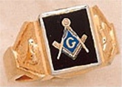 3rd Degree Masonic Blue Lodge Ring 10KT OR 14KT  Gold, Solid Back  #230