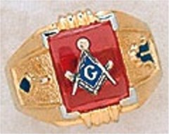3rd Degree Masonic Blue Lodge Ring 10KT OR 14KT Gold, Solid Back  #240