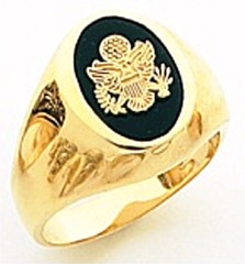 10KT or 14KT Army Ring, Solid Back, Yellow or White Gold #4109