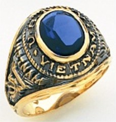 10KT or 14KT Marine VietNam Ring, Open or Solid Back, Yellow or White Gold #7027