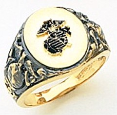 10KT or 14KT Marine Ring, Open Back, Yellow or White Gold #7023