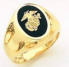 10KT or 14KT Marine Ring, Solid Back, Yellow or White Gold #7024