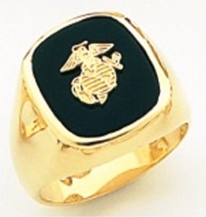 10KT or 14KT Marine Ring,  Solid Back, Yellow or White Gold #7020