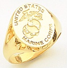 10KT or 14KT Marine Ring, Solid Back, Yellow or White Gold #7026