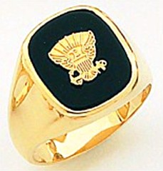 10KT or 14KT Navy Ring, Solid Back, Yellow or White Gold #4