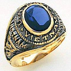 10KT or 14KT Navy VietNam Ring, Open Back, Yellow or White Gold #2